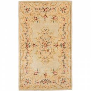 Safavieh BRG166-3 Bergama 3' x 5' Rectangle Wool Hand Tufted Traditional Area Rug Light Green / Beige Home Decor Rugs Area Rugs  - Light Green,Beige