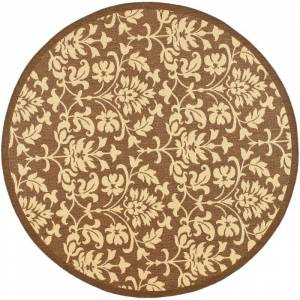 Safavieh CY3416-7R Courtyard Courtyard 7' Round Synthetic Power Loomed Floral Outdoor Area Rug Chocolate / Natural Home Decor Rugs Area Rugs  - Chocolate,Natural