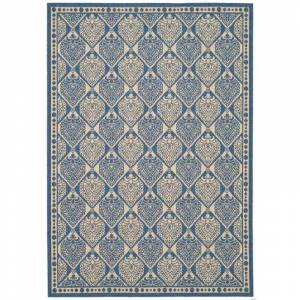 Safavieh CY5149-5 Courtyard Courtyard 5' X 8' Rectangle Synthetic Power Loomed Medallion Outdoor Area Rug Blue / Ivory Home Decor Rugs Area Rugs  - Blue,Ivory
