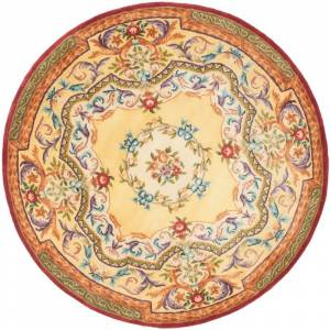 Safavieh EM822-8R Empire 8' Round Wool Hand Tufted Traditional Area Rug Gold / Gold Home Decor Rugs Area Rugs  - Gold,Gold