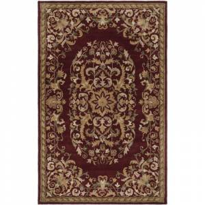 Safavieh HG640-6 Heritage 6' x 9' Wool Hand Tufted Transitional Area Rug Red Home Decor Rugs Area Rugs  - Red