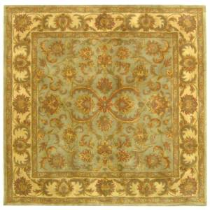 Safavieh HG811-6SQ Heritage 6' Square Wool Hand Tufted Traditional Area Rug Green / Gold Home Decor Rugs Area Rugs  - Green,Gold