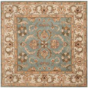 Safavieh HG811-6SQ Heritage 6' Square Wool Hand Tufted Traditional Area Rug Blue / Beige Home Decor Rugs Area Rugs  - Blue,Beige