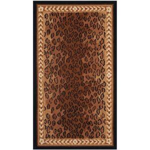 Safavieh HK15-3 Chelsea 3' x 5' Runner Wool Hand Tufted Animal Print Area Rug Black / Brown Home Decor Rugs Area Rugs  - Black,Brown