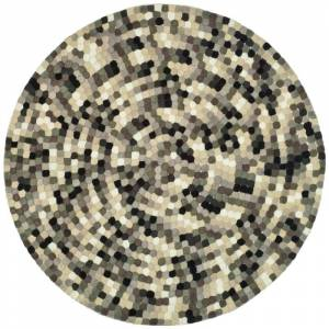 Safavieh SOH723-6R Soho 6' Round Wool Hand Tufted Contemporary Area Rug Ivory / Grey Home Decor Rugs Area Rugs  - Ivory,Grey