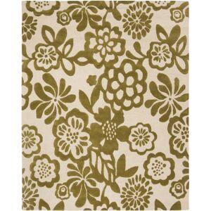 Safavieh SOH837-8 Soho 8' x 10' Wool Hand Tufted Botanical Flowers Area Rug Beige / Green Home Decor Rugs Area Rugs  - Beige,Green