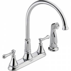 Delta 2497LF Cassidy Kitchen Faucet with Side Spray - Includes Lifetime Warranty Chrome Faucet Kitchen Double Handle  - Chrome