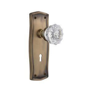 Nostalgic Warehouse PRACRY_MRT_214_KH Crystal Solid Brass Skeleton Keyed Entry M Antique Brass Mortise Lock Keyed Entry Skeleton Key