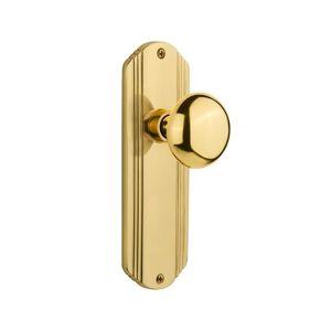 Nostalgic Warehouse DECNYK_PRV_238_NK New York Solid Brass Privacy Knob Set with Unlacquered Brass Knobset Privacy