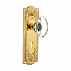 Nostalgic Warehouse MEAOCC_PSG_238_KH Oval Clear Crystal Solid Brass Passage Kno Unlacquered Brass Knobset Passage