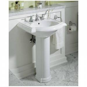 "Kohler K-2286-4 Devonshire 24"" pedestal lavatory with 4"" center drilling White Fixture Pedestal Sink Vitreous China"