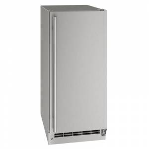 U-Line UOCL115-01A 15 Inch Wide 30 Lbs. Storage Capacity Built-In or Free Standing Outdoor Ice Maker with 60 Lbs. Daily Ice Production Stainless Steel