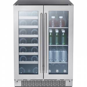 Zephyr PRWB24C32BG Presrv™ 24 Inch Wide 21 Bottle Capacity and 64 Can Capacity Wine Cooler and Beverage Center Combo with Active Cooling and