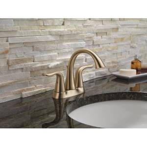Delta 2538-MPU-DST Lahara Centerset Bathroom Faucet with Pop-Up Drain Assembly - Includes Lifetime Warranty Champagne Bronze Faucet Bathroom Sink  - Champagne Bronze