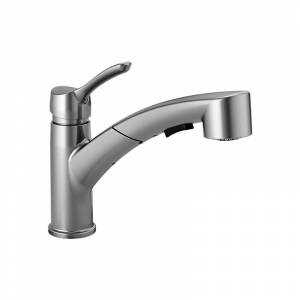 Delta 4140-DST Collins Pull-Out Spray Kitchen Faucet with Optional Escutcheon Plate - Includes Lifetime Warranty Arctic Stainless Faucet Kitchen  - Arctic Stainless