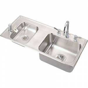 """Elkay DRKAD371745LC 37-1/4"""" Double Basin Drop-In Stainless Steel Utility Sink with High-Arc Kitchen Faucet - Includes Bubbler Drain and Strainer"""