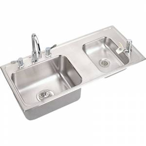 "Elkay DRKAD371750RC 37-1/4"" Double Basin Drop-In Stainless Steel Utility Sink with High-Arc Kitchen Faucet - Includes Bubbler Drain and Strainer"
