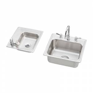 """Elkay DRKR23417LC 34"""" Double Basin Drop-In Stainless Steel Utility Sinks (2) with High-Arc Kitchen Faucet - Includes Bubbler Drain and Strainer"""
