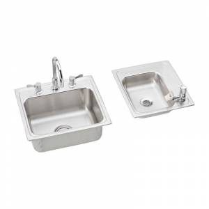 """Elkay DRKR23417RC 34"""" Double Basin Drop-In Stainless Steel Utility Sinks (2) with High-Arc Kitchen Faucet - Includes Bubbler Drain and Strainer"""