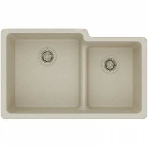 "Elkay ELGULBO3322 Quartz Classic 33"" x 20-1/2"" x 9-1/2"" Offset 60/40 Double Bowl Undermount Sink with Aqua Divide Bisque Fixture Kitchen Sink  - Bisque"