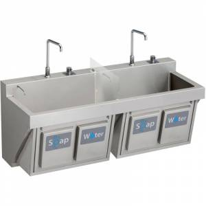 """Elkay EWSF26026KWSC 60"""" Double Basin Wall Mounted Stainless Steel Utility Sink with Commercial Faucets (2) - Includes Two Strainers and Two Soap"""