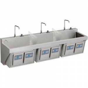 """Elkay EWSF39026KWSC 90"""" Triple Basin Wall Mounted Stainless Steel Utility Sink with Commercial Faucets (3) - Includes Three Soap Dispensers Three"""