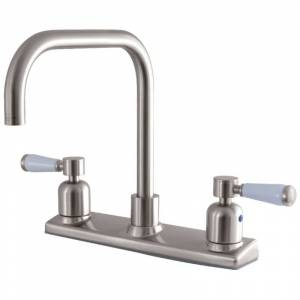 Kingston Brass FB214.DPL Paris 1.8 GPM Widespread Kitchen Faucet Brushed Nickel Faucet Kitchen Double Handle  - Brushed Nickel