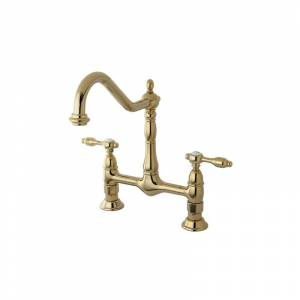 Kingston Brass KS117.TAL Tudor Brass Double Handle Kitchen Faucet Polished Brass Faucet Kitchen Double Handle  - Polished Brass