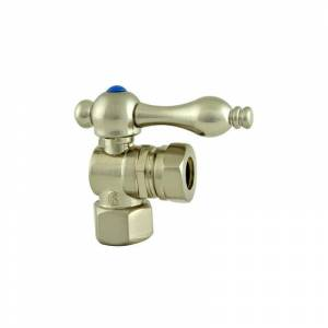 Kingston Brass CC4410 Vintage Angle Stop with 1/2 Inch Comp 1/2 Inch or 7/16 Inch Slip Joint and Metal Lever Satin Nickel Valves Angle Stop Valves  - Satin Nickel