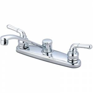 """Olympia Faucets K-5160 Elite 1.5 GPM Widespread Kitchen Faucet with 7-9/16"""" Reac Polished Chrome Faucet Kitchen Double Handle"""