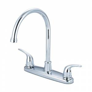 """Olympia Faucets K-5370 Accent 1.5 GPM Low Lead Widespread Kitchen Faucet with 8"""" Polished Chrome Faucet Kitchen Double Handle"""