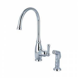 """Olympia Faucets K-5441 Accent 1.5 GPM Single Hole Kitchen Faucet with 8-1/4"""" Rea Polished Chrome Faucet Kitchen Single Handle"""