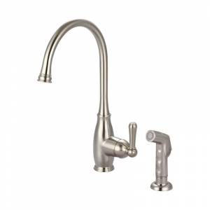 """Olympia Faucets K-5441 Accent 1.5 GPM Single Hole Kitchen Faucet with 8-1/4"""" Rea Brushed Nickel Faucet Kitchen Single Handle"""