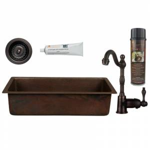 """Premier Copper Products BSP4_BREC28DB-D 28"""" Hammered Copper Single Basin Drop In or Undermount Bar Sink with 1.2 GPM Faucet and Strainer Drain Oil"""