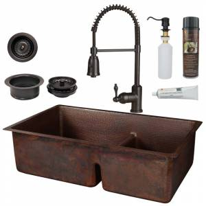 """Premier Copper Products KSP4_K60DB33199-SD5 33"""" Undermount 60/40 Double Basin Copper Kitchen Sink Package with Single Hole 1.8 GPM Kitchen Faucet"""