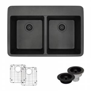 "Rene R3-2002-CGF 33"" Drop In Double Basin Granite Composite Kitchen Sink with Basin Racks and Basket Strainers Carbon Fixture Kitchen Sink Composite  - Carbon"