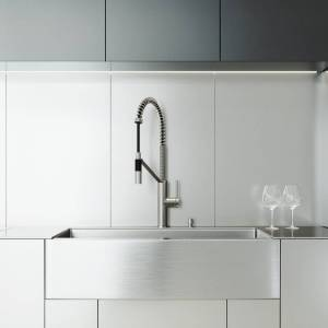 """Vigo VG15749 All-In-One 36"""" Farmhouse Single Basin Stainless Steel Kitchen Sink with Livingston Stainless Steel Single Hole 1.8 GPM Kitchen Faucet  - Stainless Steel"""