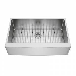 "Vigo VGR3620CK1 36"" Single Basin Farmhouse Kitchen Sink with Basket Strainer Cutting Board and Basin Rack Stainless Steel Fixture Kitchen Sink  - Stainless Steel"