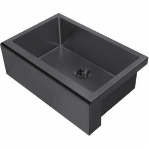 """Whitehaus WHNPL3020 Noah Plus 30"""" Single Basin Kitchen Sink Set for Undermount Installation with Front Apron - Includes Matching Grid and Basket"""