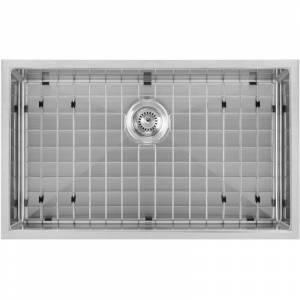"""Whitehaus WHNPL3318 Noah Plus 33"""" Single Basin Kitchen Sink for Undermount or Drop-In Installation - Includes Matching Sink Grid and Strainer Brushed"""