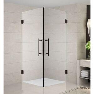 "Aston SEN989-34-10 Vanora 34"" Wide x 34"" Deep x 72"" High Frameless Hinged Shower Enclosure with Clear Glass Bronze Showers Shower Enclosures Corner"