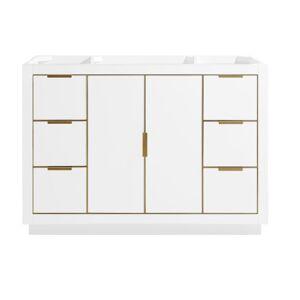 "Avanity AUSTEN-V48-G Austen 48"" Single Free Standing Wood Vanity Cabinet Only - Less Vanity Top White Bathroom Storage Vanity Cabinet Only Single  - White"