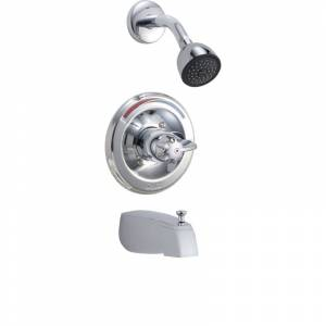 Delta T13490 Single Handle Monitor Tub / Shower Valve Trim Only with Pressure Balance Cartridge and Handle Chrome Showers Tub and Shower Pressure