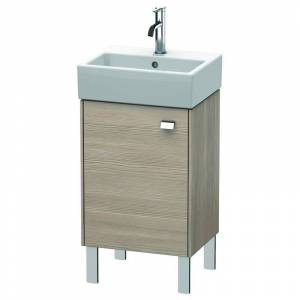 "Duravit BR4430L Brioso 17"" Single Free Standing Wood Vanity Cabinet Only with Left Hand Hinge - Less Vanity Top Chrome / Pine Silver Bathroom Storage  - Chrome,Pine Silver"