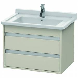 """Duravit KT6643 Ketho 26"""" Single Wall Mounted Wood Vanity Cabinet Only - Less Vanity Top Taupe Matte Bathroom Storage Vanity Cabinet Only Single  - Taupe Matte"""