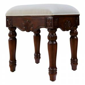 Elegant Lighting VF-1045 Windsor 18 Inch Tall Cushioned Wooden Vanity Stool Teak Indoor Furniture Stools Vanity