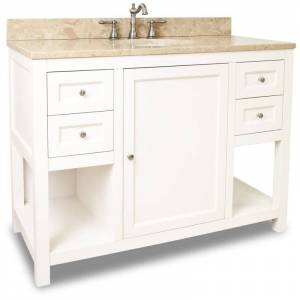 "Jeffrey Alexander VAN091-48-T Astoria Modern Collection 48"" Inch Bathroom Vanity Cabinet with Counter Top and Bowl Cream White / Cream Marble Bathroom"