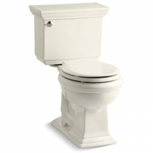 Kohler K-3933 Memoirs Stately 1.28 GPF Two-Piece Round Comfort Height Toilet with AquaPiston Technology - Seat Not Included Biscuit Fixture Toilet  - Biscuit