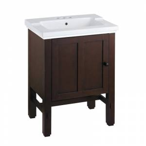 """Kohler K-2604/K-2979-4 Tresham 24"""" Free Standing Vanity Set with Wood Cabinet and Single Basin Drop In Sink with 3 Holes Drilled and Overflow Woodland"""