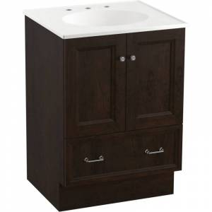 "Kohler K-99514-TK Damask 24"" Vanity Cabinet Only - Toe Kick Installation Type Claret Suede Bathroom Storage Vanity Cabinet Only Single  - Claret Suede"